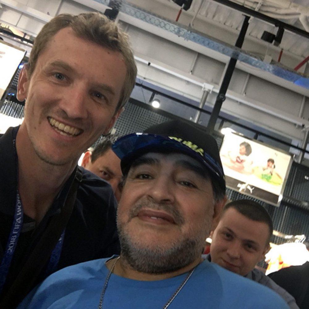 Edin Mahmuljin i Diego Maradona na SP u nogometu u Moskvi